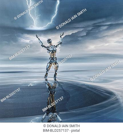 Reflection of robot looking up at lightning