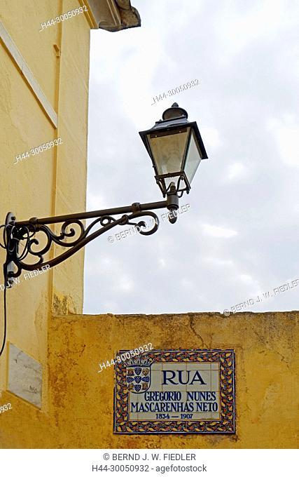 Tile picture, road sign, Gregório Nunes Mascarenhas, in 1834-1907, Silves Portugal