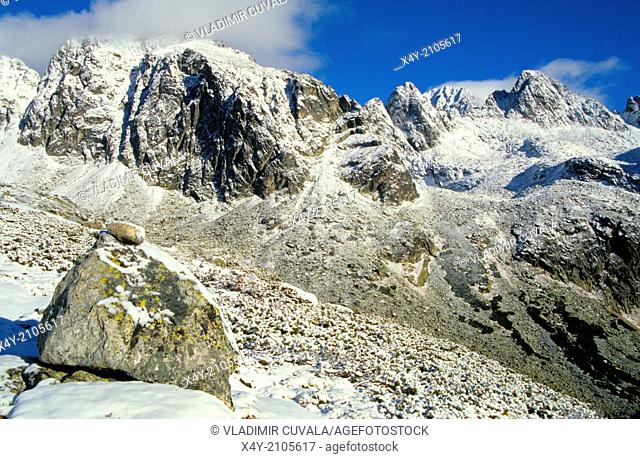 """""""View of the peak """"""""""""""""Javorovy stit"""""""""""""""" in Velka Studena dolina, High Tatras."""""""