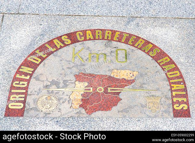 Km 0 of the radial network of Spanish roads on Puerta del Sol Square in Madrid, Spain