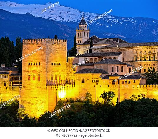 Evening light at the Alhambra, UNESCO World Heritage Site, against the Sierra Nevada mountain range, Granada, Andalusia, Spain