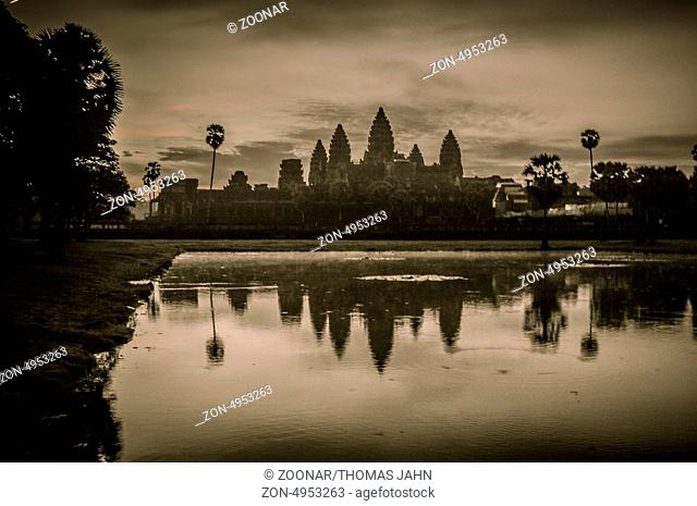 Stone murals and sculptures in Angkor wat, Cambodia the impressive temples near siem reap build by the red khmer civilisation