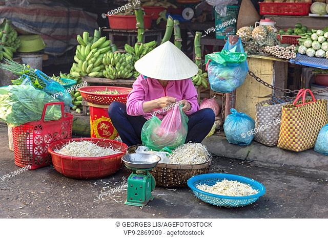 street market vegetables woman soja Hoi An Vietnam