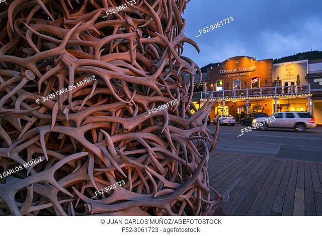Jackson Hole Antler Arch in the historic Town Square, Jackson, Grand Teton National Park, Wyoming, Usa, America