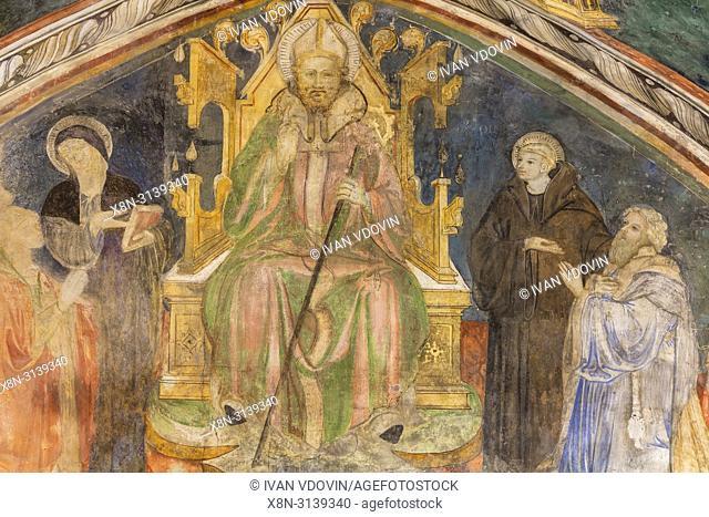 Fresco painting, St Benedict's Abbey, Subiaco, Lazio, Italy