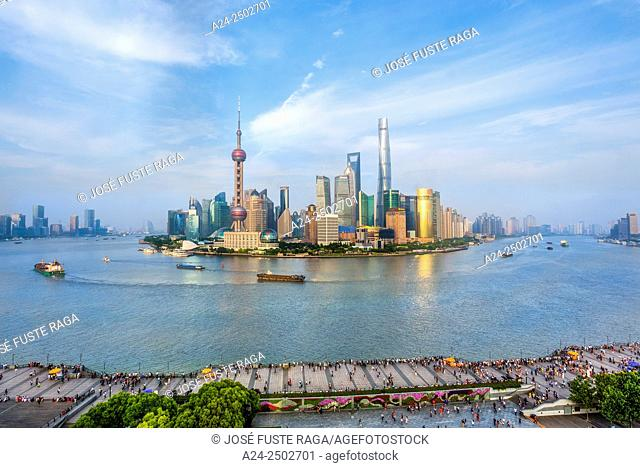 China, Shanghai City, The Bund and Pudong District Skyline, Huanpu River