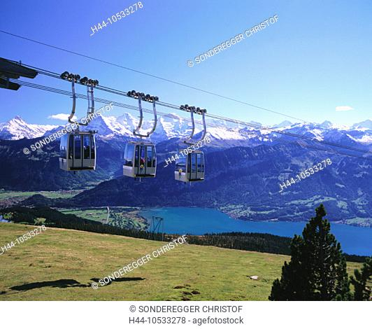 10533278, railway, Beatenberg, canton Bern, Switzerland, Europe, Bernese Oberland, mountains, alpine, Alps, three, gondolas, E