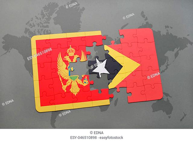 puzzle with the national flag of montenegro and east timor on a world map background. 3D illustration