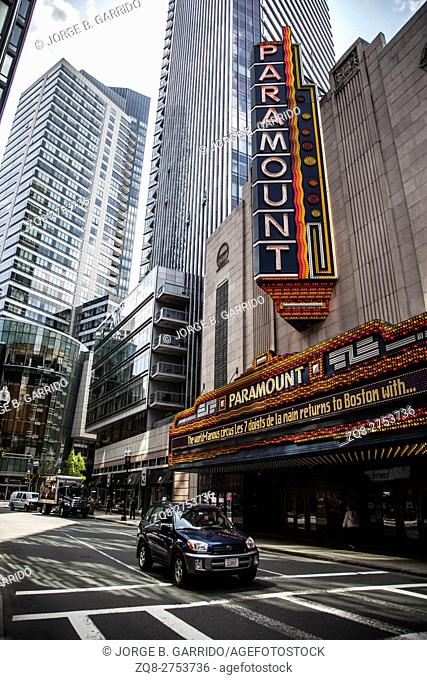 Washington Street Theater District in Boston