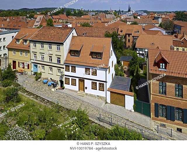 View from the Schlossberg hill to old town of Quedlinburg, Saxony-Anhalt, Germany
