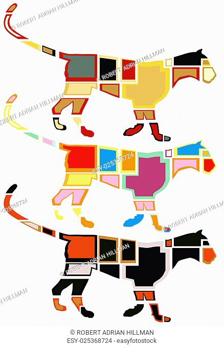 Set of eps8 editable vector colorful mosaic illustrations of a leopard