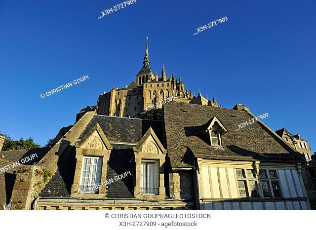 view of the abbey from the ramparts of Mont-Saint-Michel, Manche department, Normandy region, France, Europe