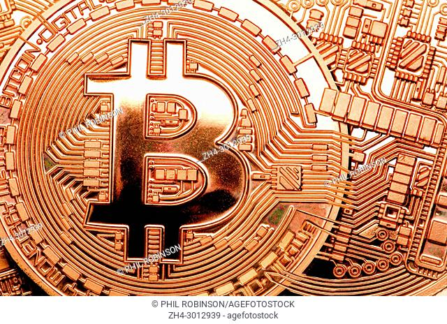 Bitcoin cryptocurrency / payment system (Copper Bitcoin Commemorative Round . 999 bullion) Electronic currency - with connections
