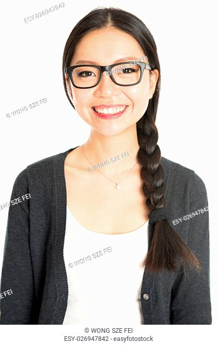 Portrait of young Asian girl with braid hair is smiling, isolated on white background