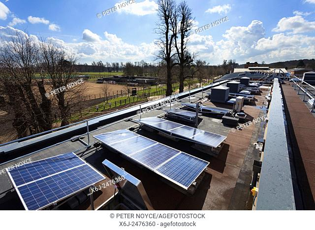 Row of photovoltaic cells on roof of modern college building