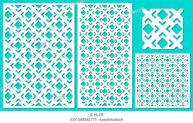 Set of decorative panels laser cutting. a wooden panel. Modern elegant square diagonal geometric pattern allover. The ratio 2: 3, 1: 2, 1: 1