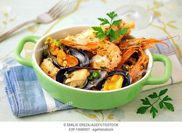 Monkfish and shellfish