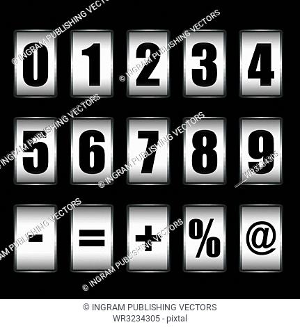 Ticker counter icons with white background and black numbers