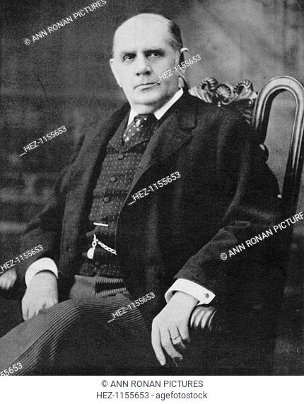 Mark Hanna, American industrialist and politician, c1896. Hanna (1837-1904) made a fortune in iron and coal. He supported the Republican party and orchestrated...