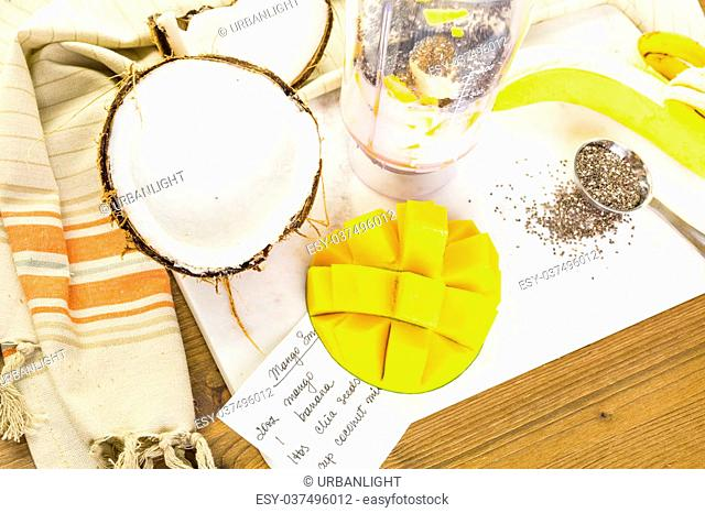 Freshly made mango banana smoothie with chia seeds