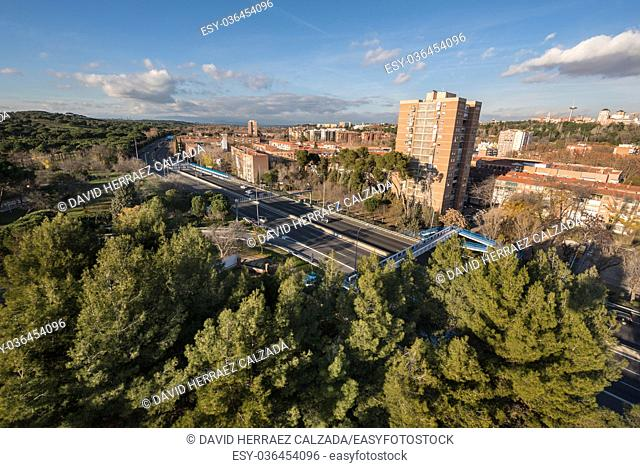 Madrid cityscape aerial view from casa de campo