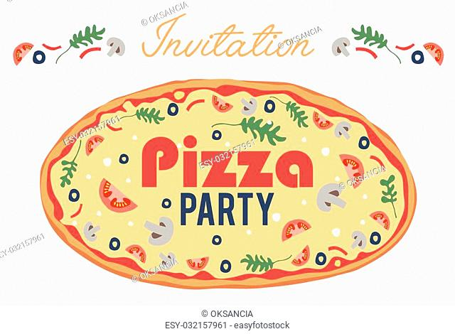 Pizza Party Invitation Poster Flyer Card. Dinner. Social Event. Invite. Italian. Bring Your Own Topping. Graphic design