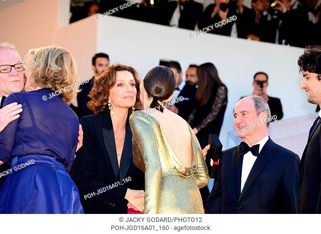Arriving on the red carpet for the film 'Mal de pierres' Crew of the film: Nicole Garcia, Marion Cotillard, Louis Garrel With: Thierry Frémaux, Audrey Azoulay