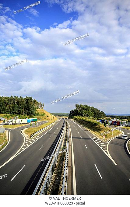 Germany, Bavaria, Coburg, motorway