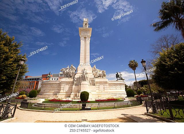 View to the Monumento a las Cortes or the Monument to the Constitution in Plaza de Espana Square Cadiz, Andalusia, Spain, Europe