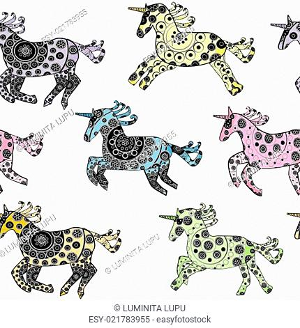Seamless with cartoon unicorns over a white background