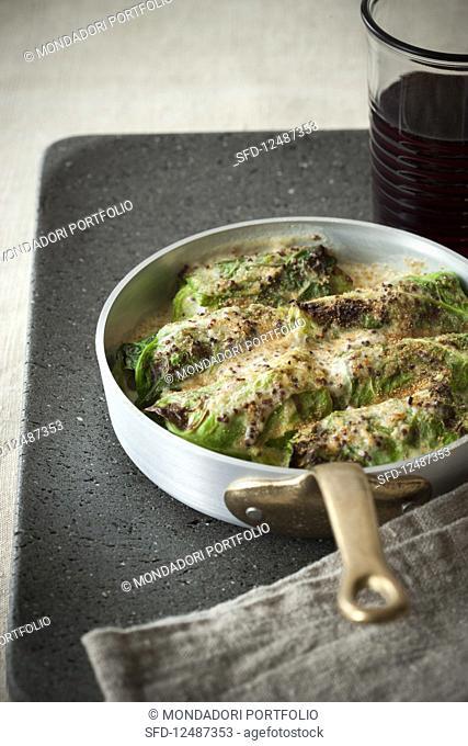 Cabbage and Gorgonzola Cheese Rolls Gratin