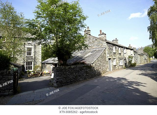 traditional lake stone slate built cottages in the hamlet of town end near grasmere lake district cumbria england uk