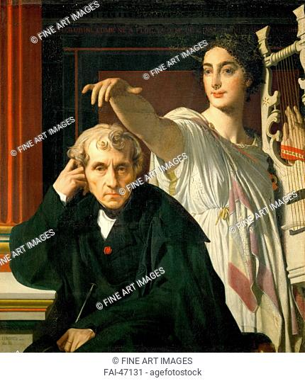Luigi Cherubini and the Muse of Lyric Poetry by Ingres, Jean Auguste Dominique (1780-1867)/Oil on canvas/Neoclassicism/1842/France/Musée du Louvre
