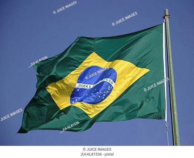Flag of Brazil under blue sky, Brazil