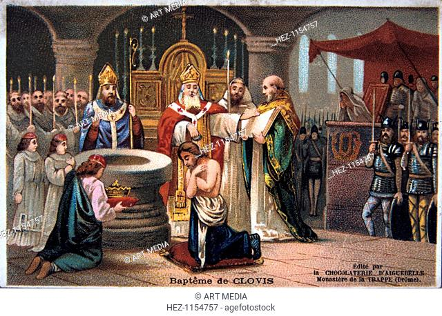 Baptism of Clovis, 496 AD, (19th century). Clovis I (c466-511 AD), King of the Franks, converted to Christianity and was baptized in 496 AD
