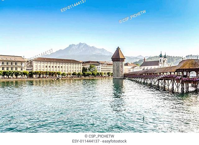 Chapel Bridge or Kapellbrucke in Lucerne, Switzerland