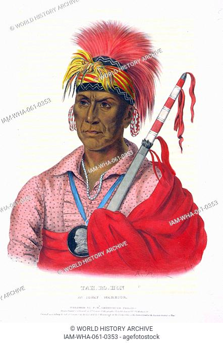 Tah-Ro-Hon, an Ioway warrior. The Ioway (Iowa) are a Native American Siouan people who live either in Kansas and Nebraska or Oklahoma