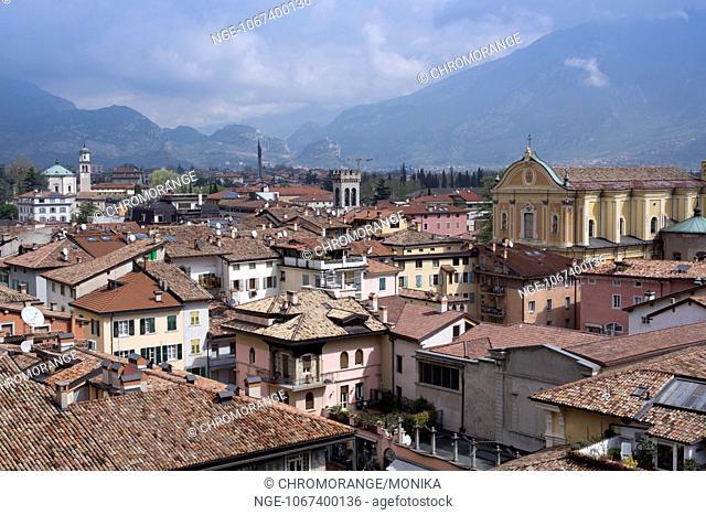 View from Torre Apponale, clock tower, in the background the church Chiesa dell Inviolata, Riva del Garda, region Trentino Alto Adige, Province Trient , Italy
