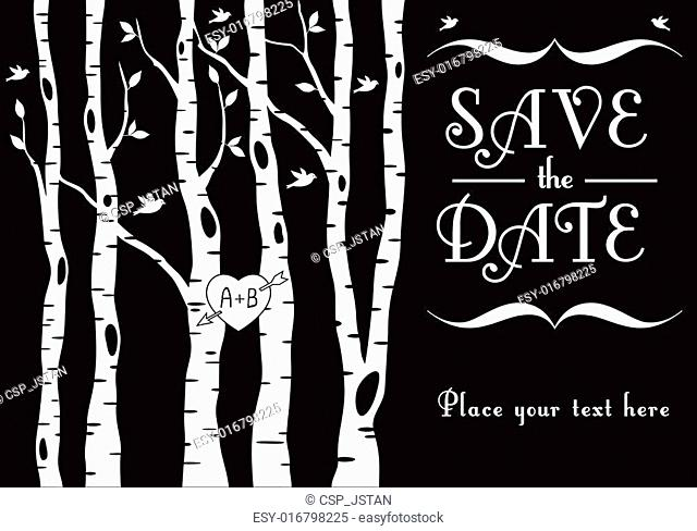 wedding invitation with birch trees