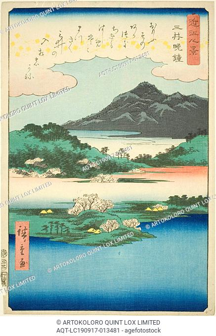 Evening Bell at Mii Temple (Mii bansho), from the series Eight Views of Omi (Omi hakkei), 1857, Utagawa Hiroshige ?? ??, Japanese, 1797-1858, Japan
