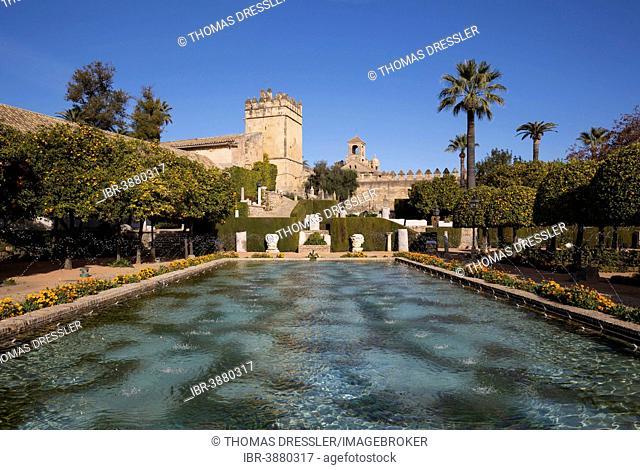 The gardens of the Alcázar de Los Reyes Cristianos, Córdoba, Córdoba province, Andalusia, Spain