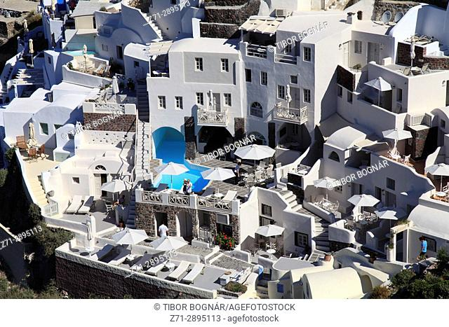 Greece, Cyclades, Santorini, Oia, village, terraces,
