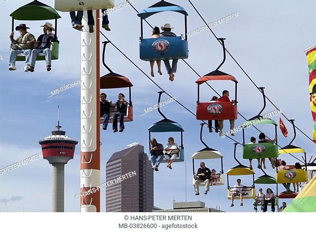 Canada, Alberta, Calgary, Stampede park, gondola track, tourists, Calgary tower