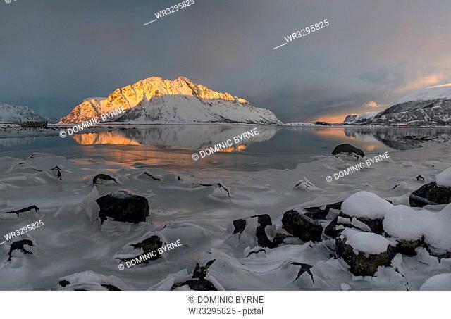 Sunset in Lofoten Islands, Nordland, Arctic, Norway, Europe