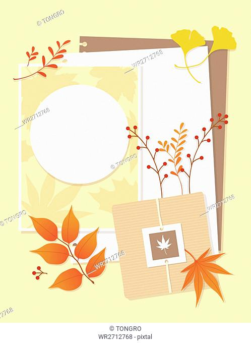 Letters and cards with autumn leaves