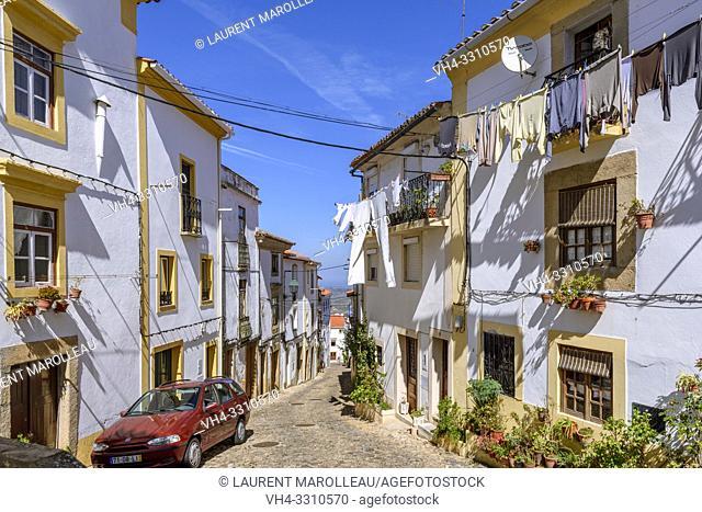 Narrow street in the Jewish quarter of Castelo de Vide village, Portalegre District, Alentejo Region, Portugal