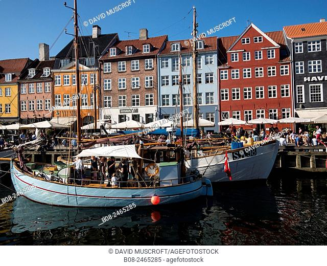 Yachts and traditional boats in the Nyhavn harbour area, Copenhagen, Denmark