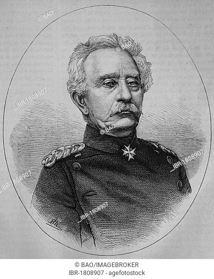 General Karl Friedrich von Steinmetz, commander in chief of the 1st Division of the Prussian army, historic illustration, illustrated war chronicle 1870 to 1871