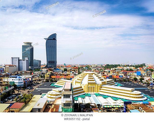 central market landmark view in phnom penh city cambodia