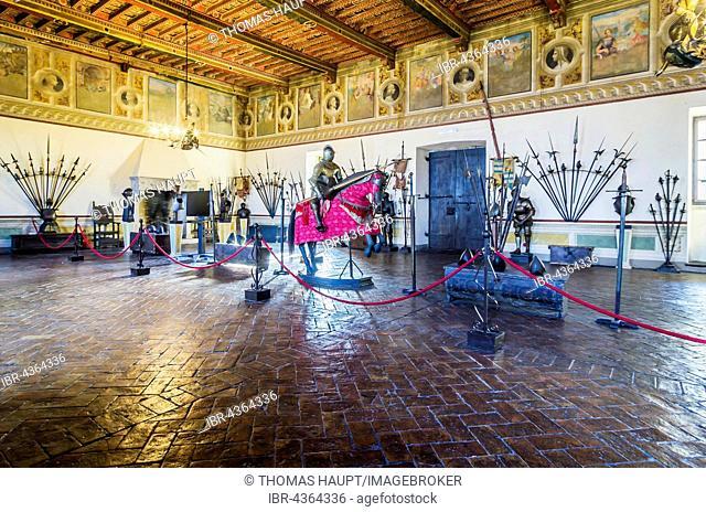 Knight's armor and weapons, room at Castello Orsini-Odescalchi, Bracciano, Metropolitan City of Rome, Lazio, Italy